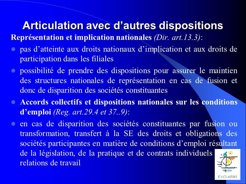 Articulation avec dautres dispositions Représentation et implication nationales (Dir.