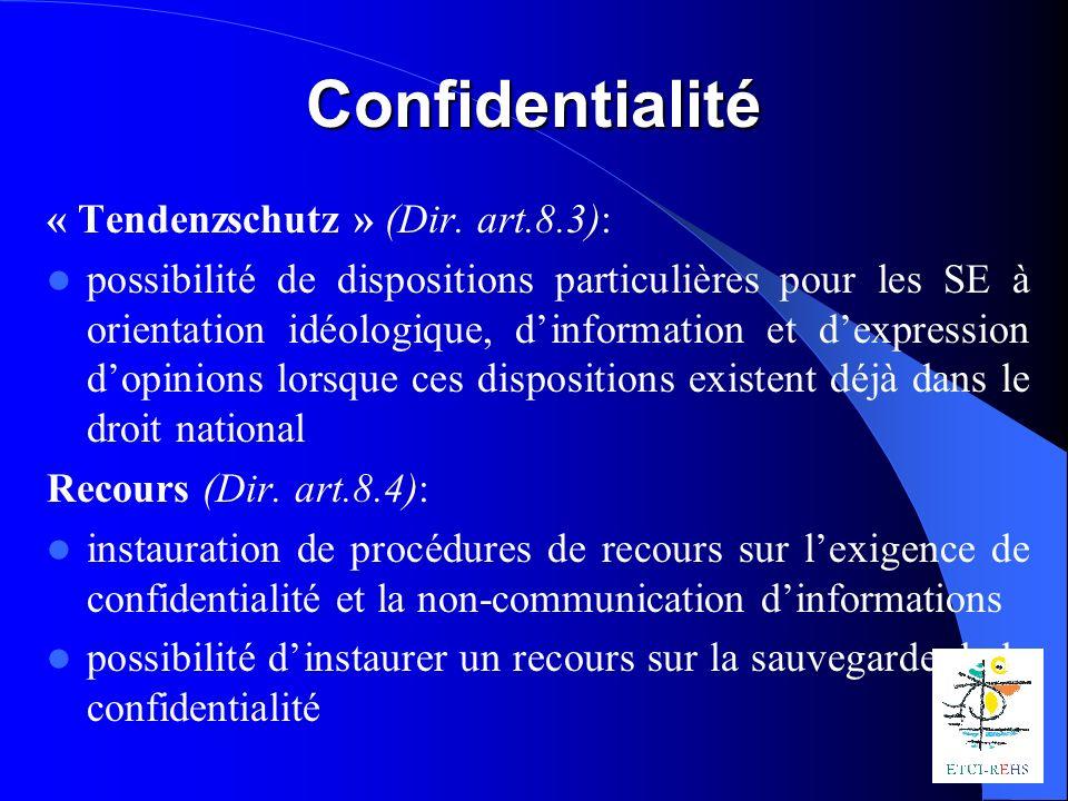 Confidentialité « Tendenzschutz » (Dir.