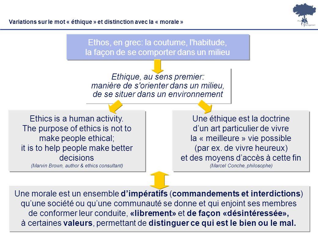 Laurent Ledoux 10 Ethique, au sens premier: manière de s'orienter dans un milieu, de se situer dans un environnement Une éthique est la doctrine dun a