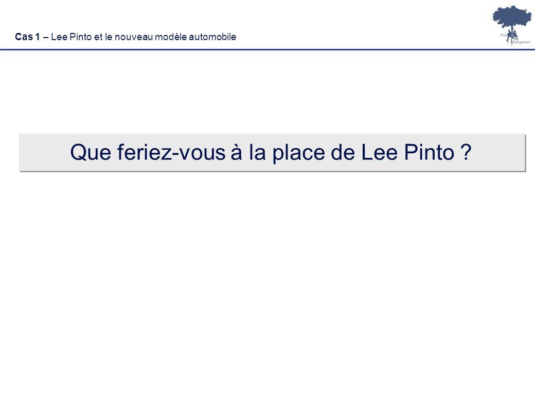 Laurent Ledoux 4 Cas 1 – Lee Pinto et le nouveau modèle automobile Que feriez-vous à la place de Lee Pinto ?