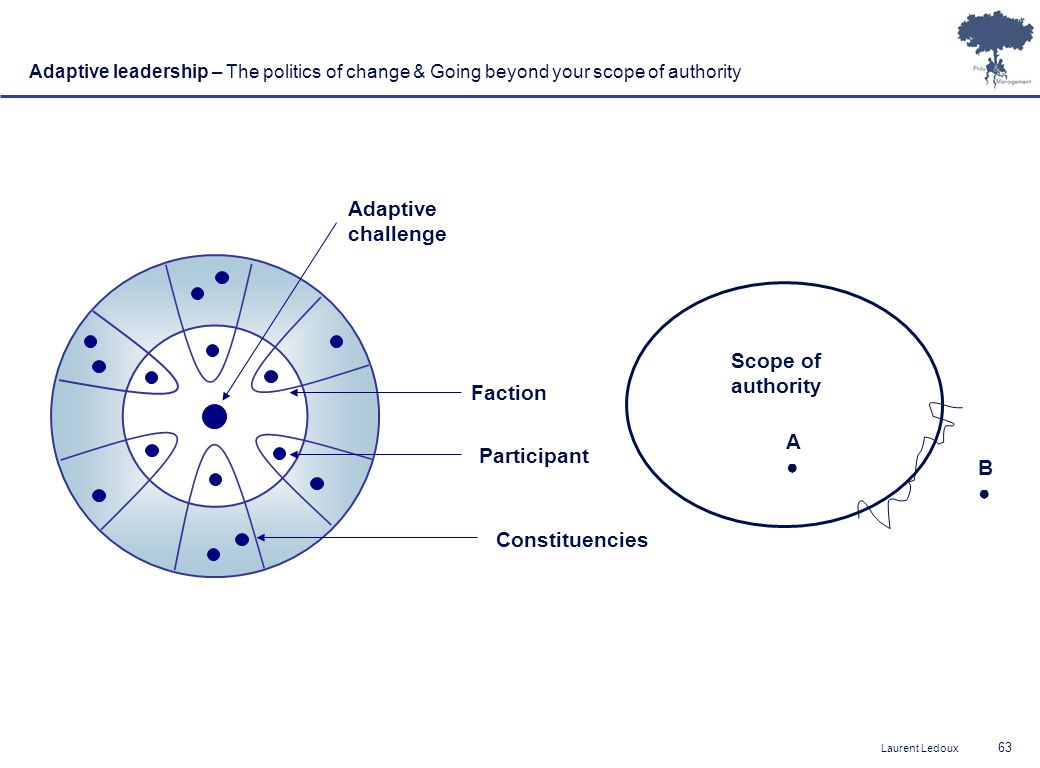 Laurent Ledoux 63 Adaptive challenge Faction Participant Constituencies Adaptive leadership – The politics of change & Going beyond your scope of authority Scope of authority A B