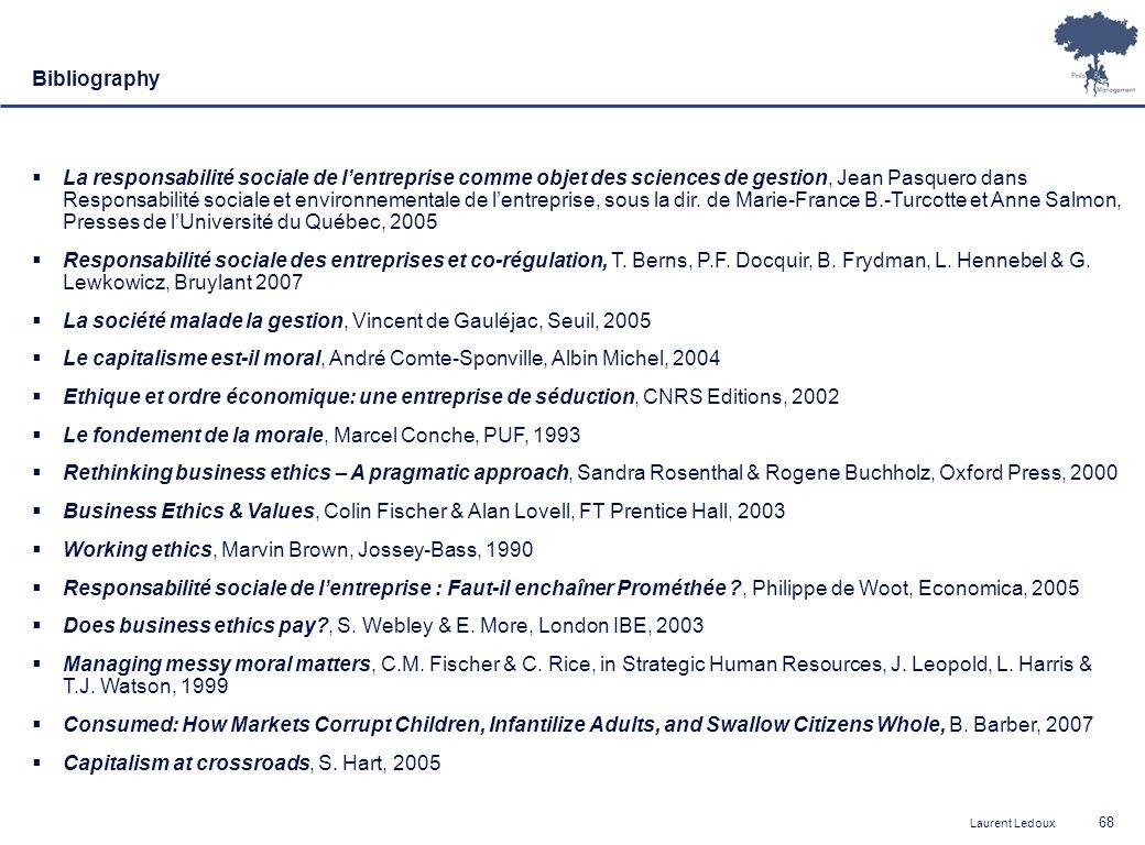 Laurent Ledoux 68 Bibliography La responsabilité sociale de lentreprise comme objet des sciences de gestion, Jean Pasquero dans Responsabilité sociale