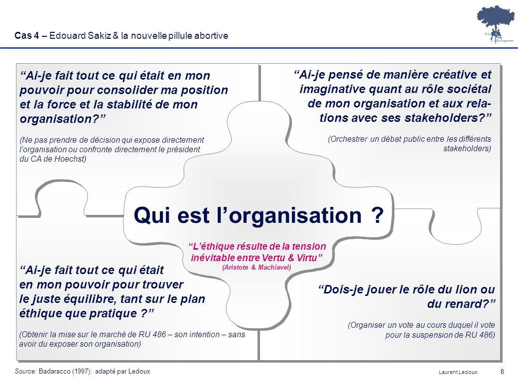 Laurent Ledoux 8 Cas 4 – Edouard Sakiz & la nouvelle pillule abortive Qui est lorganisation ? Ai-je fait tout ce qui était en mon pouvoir pour consoli