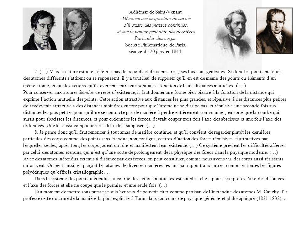 Adhémar de Saint-Venant Mémoire sur la question de savoir sil existe des masses continues, et sur la nature probable des dernières Particules des corps.