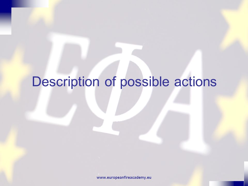 www.europeanfireacademy.eu Description of possible actions
