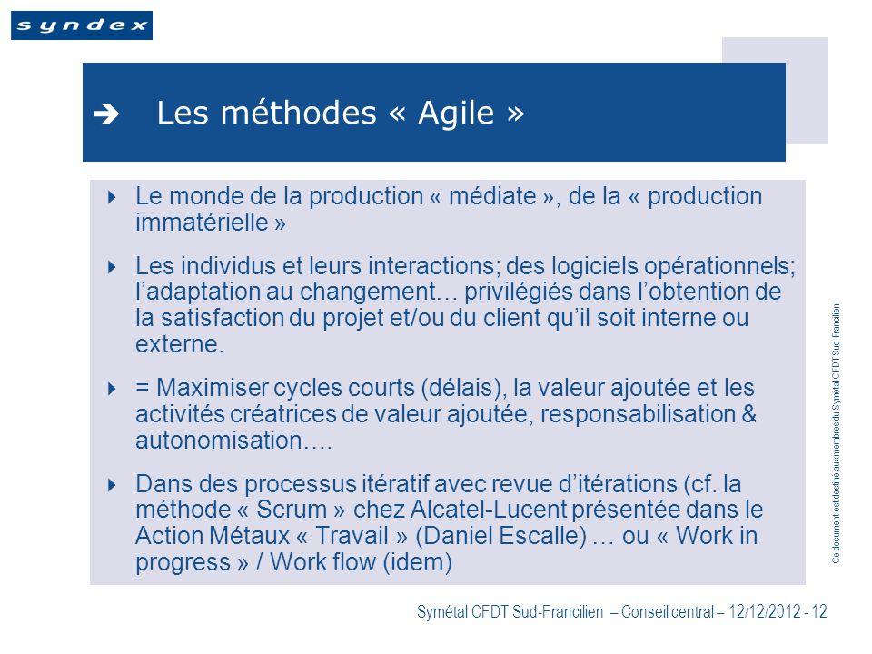 Ce document est destiné aux membres du Symétal CFDT Sud-Francilien Symétal CFDT Sud-Francilien – Conseil central – 12/12/2012 - 12 Les méthodes « Agil