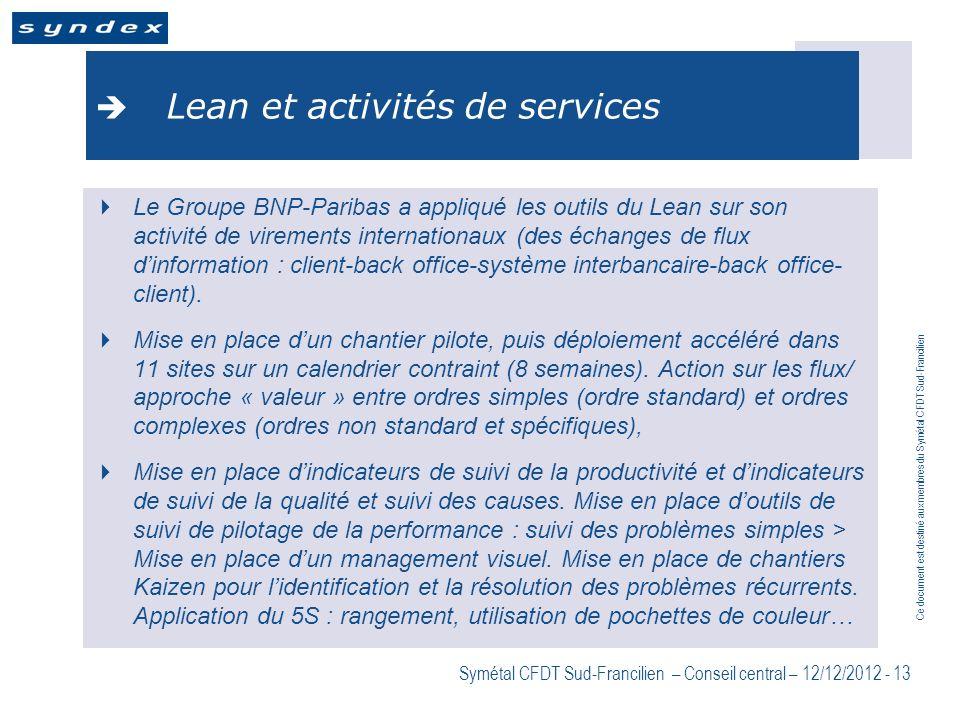 Ce document est destiné aux membres du Symétal CFDT Sud-Francilien Symétal CFDT Sud-Francilien – Conseil central – 12/12/2012 - 13 Lean et activités d