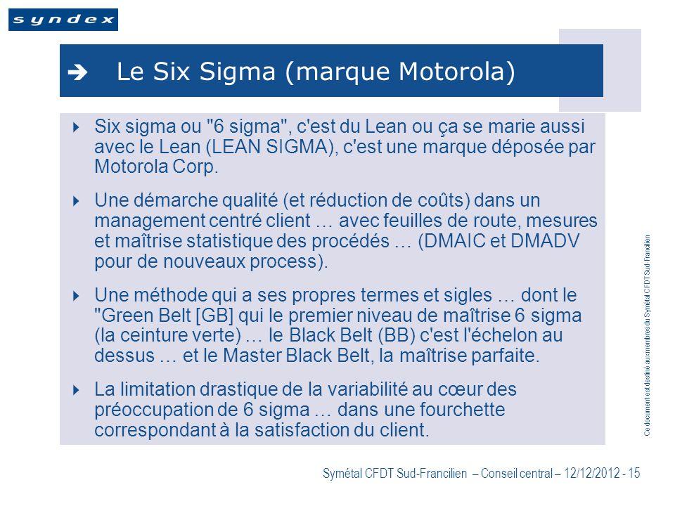 Ce document est destiné aux membres du Symétal CFDT Sud-Francilien Symétal CFDT Sud-Francilien – Conseil central – 12/12/2012 - 15 Le Six Sigma (marqu