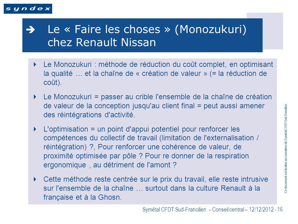 Ce document est destiné aux membres du Symétal CFDT Sud-Francilien Symétal CFDT Sud-Francilien – Conseil central – 12/12/2012 - 16 Le « Faire les chos