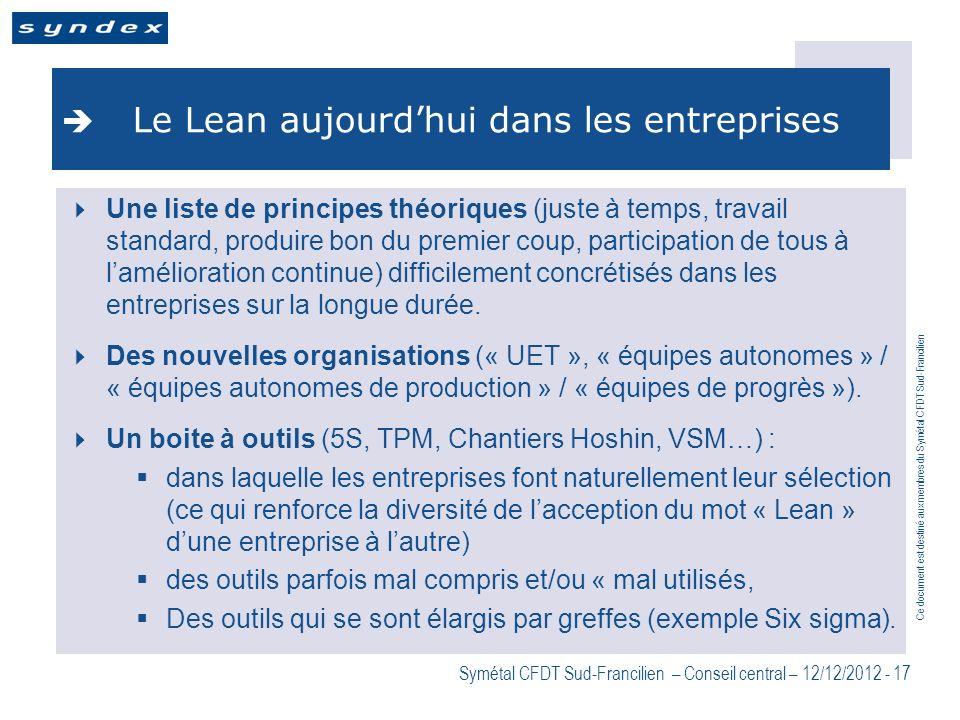 Ce document est destiné aux membres du Symétal CFDT Sud-Francilien Symétal CFDT Sud-Francilien – Conseil central – 12/12/2012 - 17 Le Lean aujourdhui