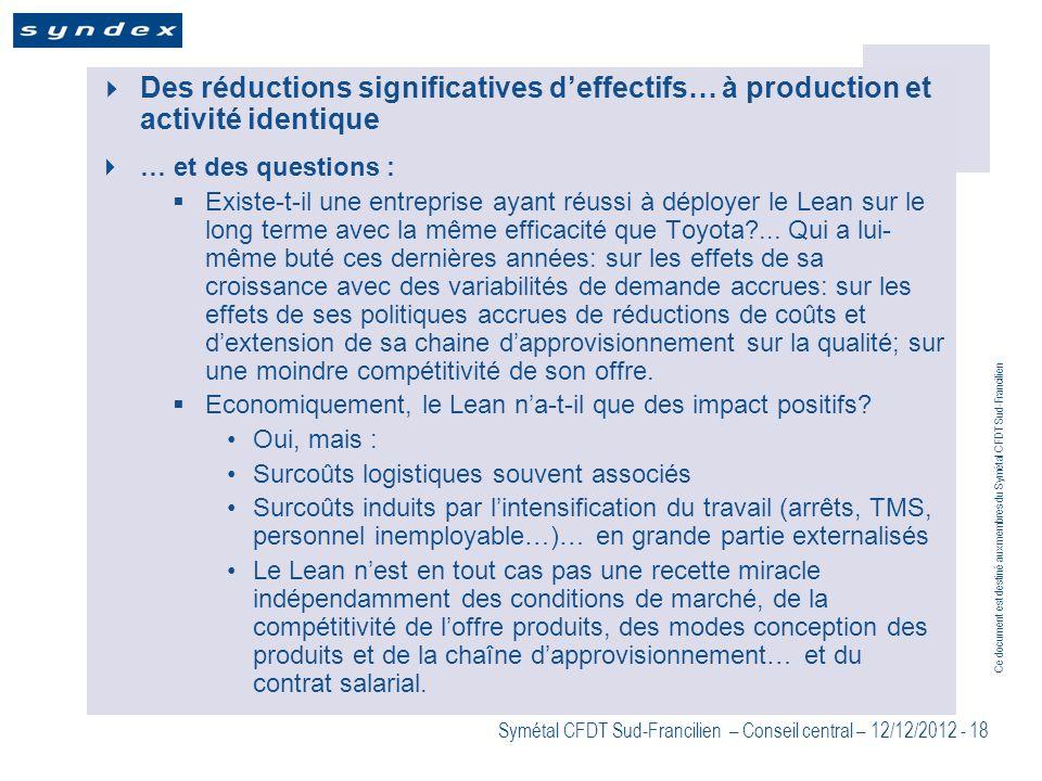 Ce document est destiné aux membres du Symétal CFDT Sud-Francilien Symétal CFDT Sud-Francilien – Conseil central – 12/12/2012 - 18 Des réductions sign