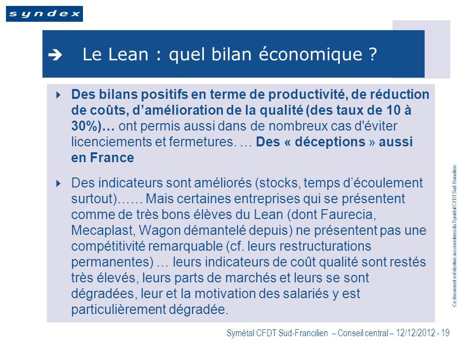 Ce document est destiné aux membres du Symétal CFDT Sud-Francilien Symétal CFDT Sud-Francilien – Conseil central – 12/12/2012 - 19 Le Lean : quel bila