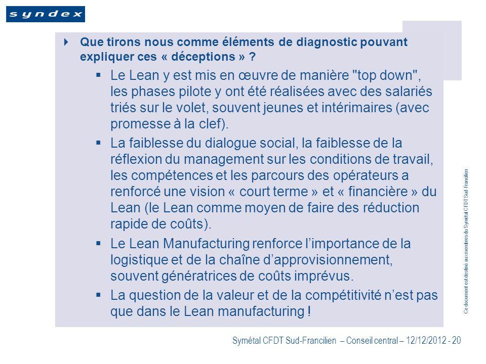 Ce document est destiné aux membres du Symétal CFDT Sud-Francilien Symétal CFDT Sud-Francilien – Conseil central – 12/12/2012 - 20 Que tirons nous com