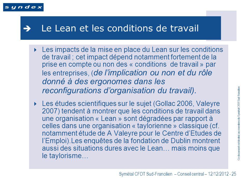 Ce document est destiné aux membres du Symétal CFDT Sud-Francilien Symétal CFDT Sud-Francilien – Conseil central – 12/12/2012 - 25 Le Lean et les cond