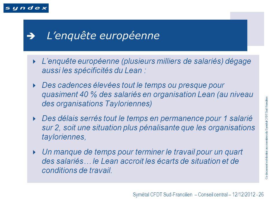 Ce document est destiné aux membres du Symétal CFDT Sud-Francilien Symétal CFDT Sud-Francilien – Conseil central – 12/12/2012 - 26 Lenquête européenne
