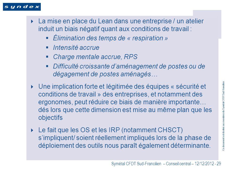 Ce document est destiné aux membres du Symétal CFDT Sud-Francilien Symétal CFDT Sud-Francilien – Conseil central – 12/12/2012 - 29 La mise en place du