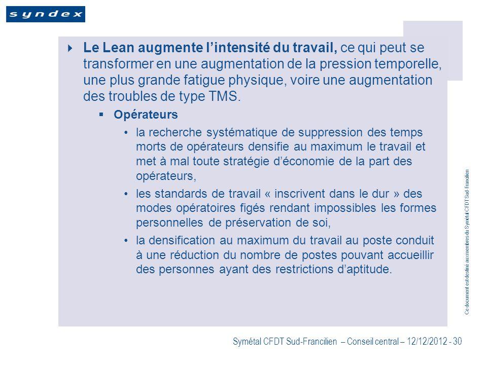 Ce document est destiné aux membres du Symétal CFDT Sud-Francilien Symétal CFDT Sud-Francilien – Conseil central – 12/12/2012 - 30 Le Lean augmente li