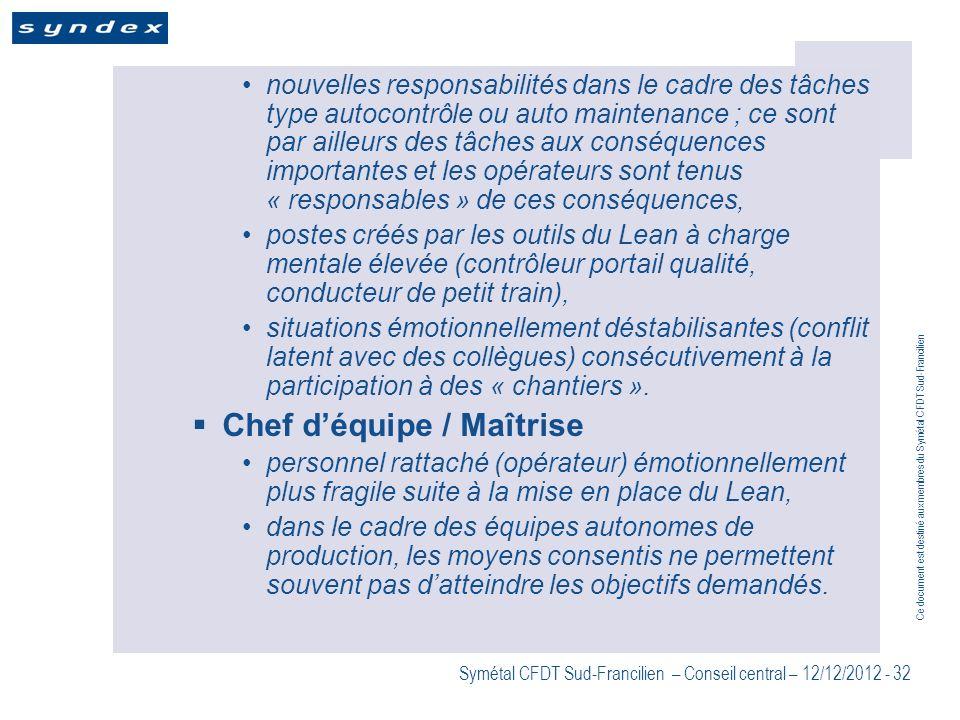 Ce document est destiné aux membres du Symétal CFDT Sud-Francilien Symétal CFDT Sud-Francilien – Conseil central – 12/12/2012 - 32 nouvelles responsab