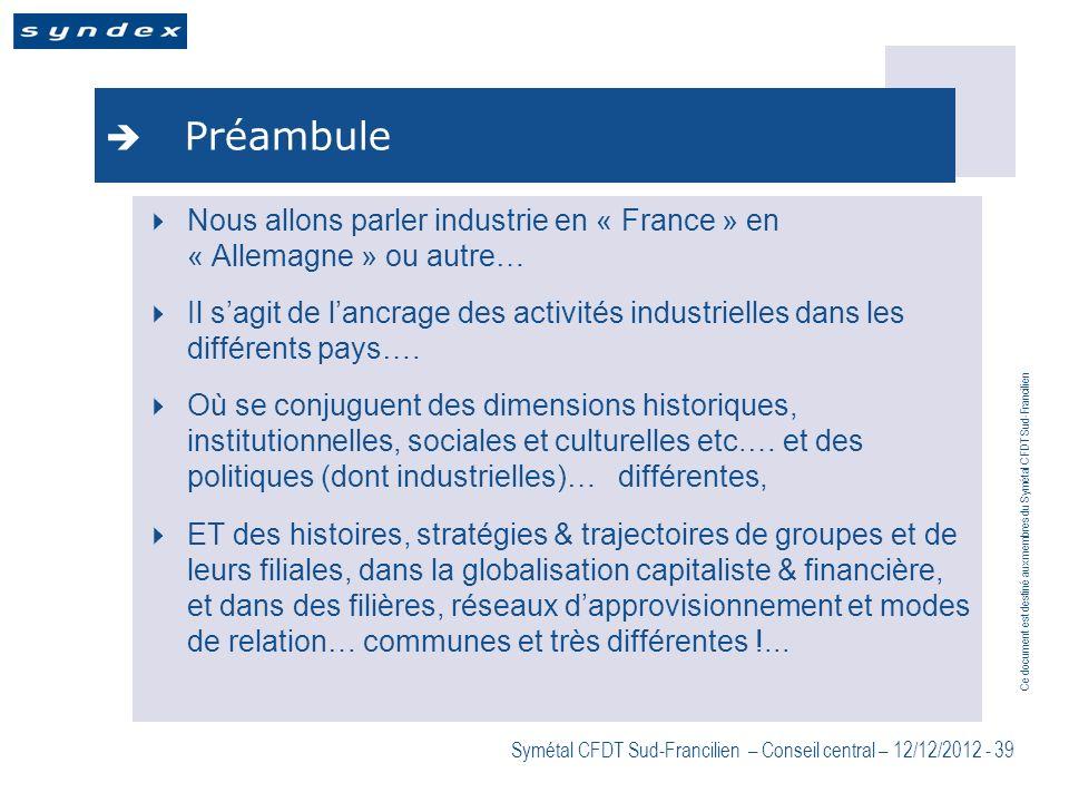 Ce document est destiné aux membres du Symétal CFDT Sud-Francilien Symétal CFDT Sud-Francilien – Conseil central – 12/12/2012 - 39 Préambule Nous allo