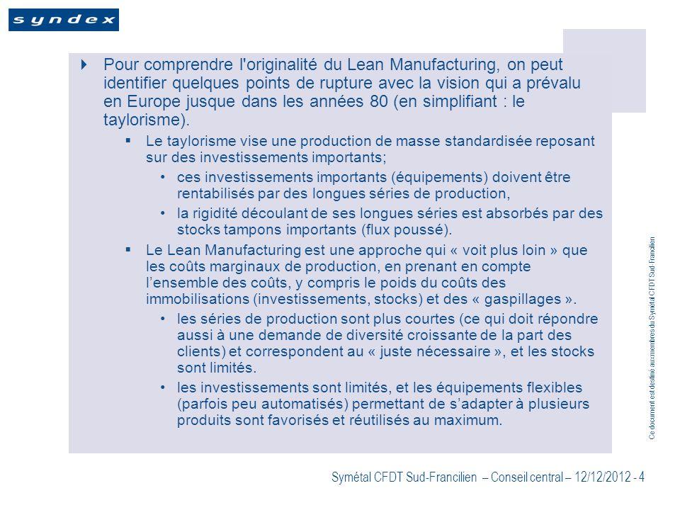 Ce document est destiné aux membres du Symétal CFDT Sud-Francilien Symétal CFDT Sud-Francilien – Conseil central – 12/12/2012 - 4 Pour comprendre l'or