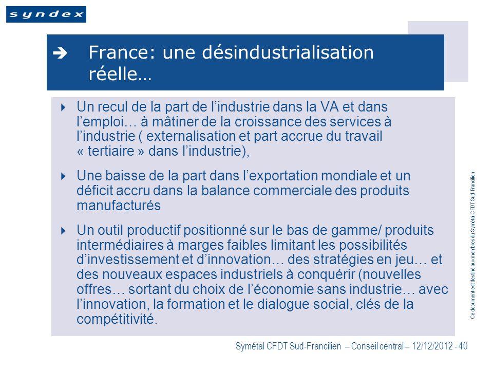 Ce document est destiné aux membres du Symétal CFDT Sud-Francilien Symétal CFDT Sud-Francilien – Conseil central – 12/12/2012 - 40 France: une désindu
