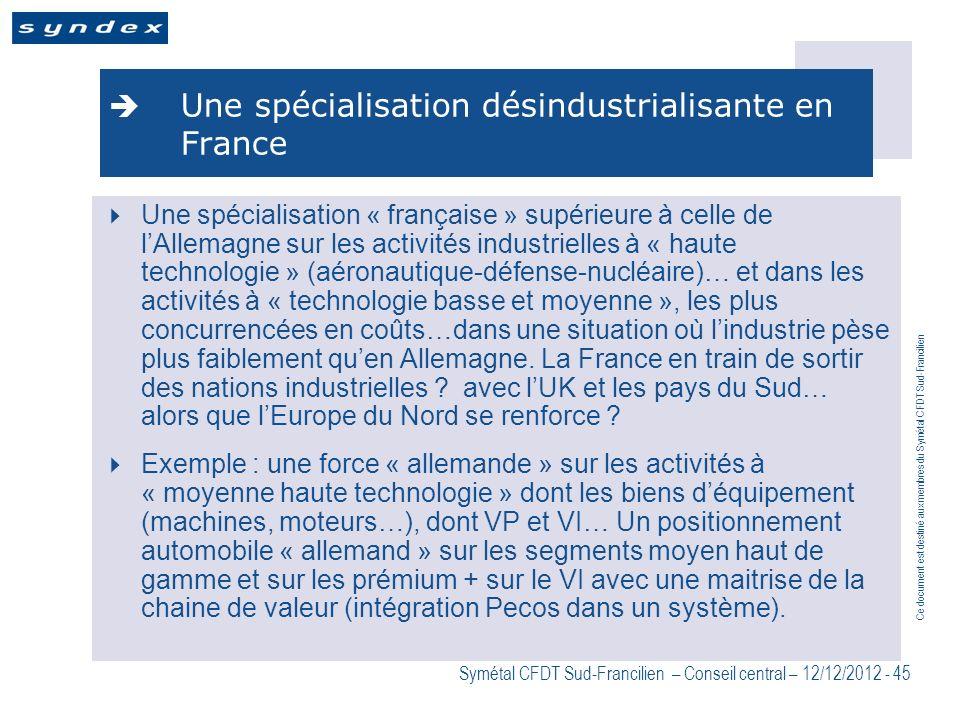 Ce document est destiné aux membres du Symétal CFDT Sud-Francilien Symétal CFDT Sud-Francilien – Conseil central – 12/12/2012 - 45 Une spécialisation