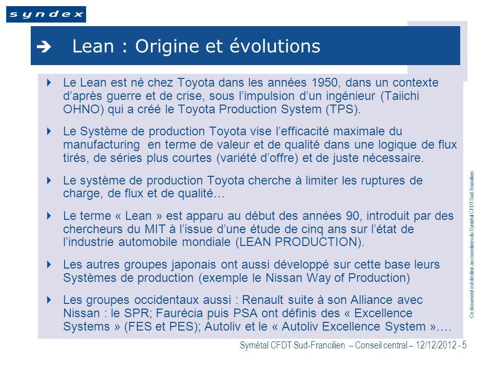 Ce document est destiné aux membres du Symétal CFDT Sud-Francilien Symétal CFDT Sud-Francilien – Conseil central – 12/12/2012 - 5 Lean : Origine et év