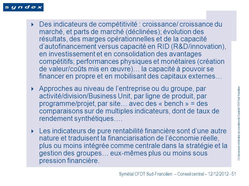 Ce document est destiné aux membres du Symétal CFDT Sud-Francilien Symétal CFDT Sud-Francilien – Conseil central – 12/12/2012 - 51 Des indicateurs de