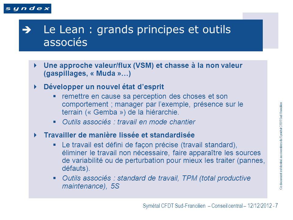 Ce document est destiné aux membres du Symétal CFDT Sud-Francilien Symétal CFDT Sud-Francilien – Conseil central – 12/12/2012 - 7 Le Lean : grands pri