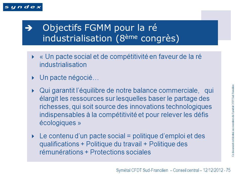 Ce document est destiné aux membres du Symétal CFDT Sud-Francilien Symétal CFDT Sud-Francilien – Conseil central – 12/12/2012 - 75 Objectifs FGMM pour