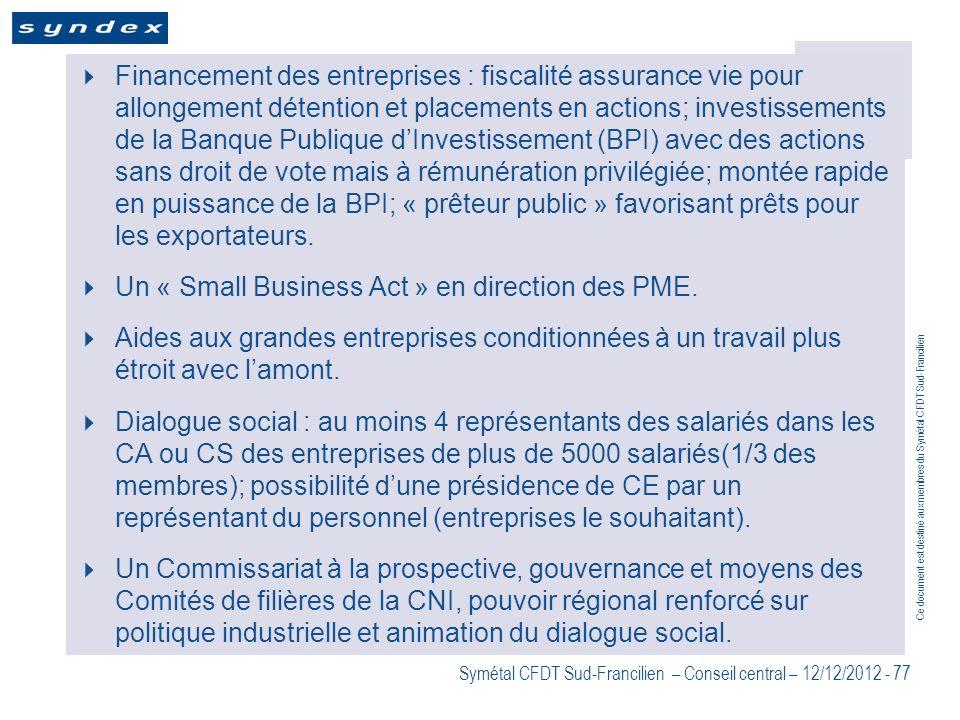 Ce document est destiné aux membres du Symétal CFDT Sud-Francilien Symétal CFDT Sud-Francilien – Conseil central – 12/12/2012 - 77 Financement des ent