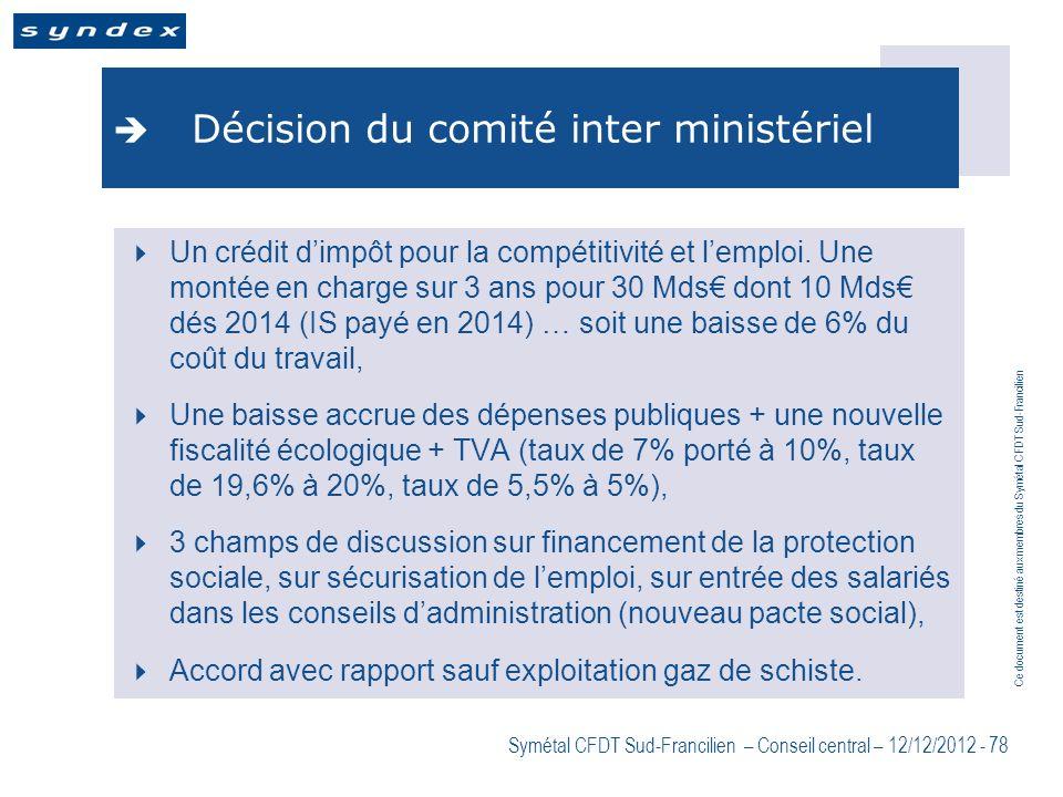 Ce document est destiné aux membres du Symétal CFDT Sud-Francilien Symétal CFDT Sud-Francilien – Conseil central – 12/12/2012 - 78 Décision du comité