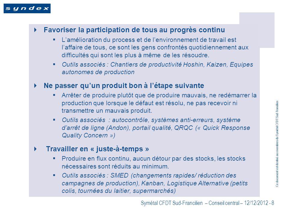 Ce document est destiné aux membres du Symétal CFDT Sud-Francilien Symétal CFDT Sud-Francilien – Conseil central – 12/12/2012 - 8 Favoriser la partici