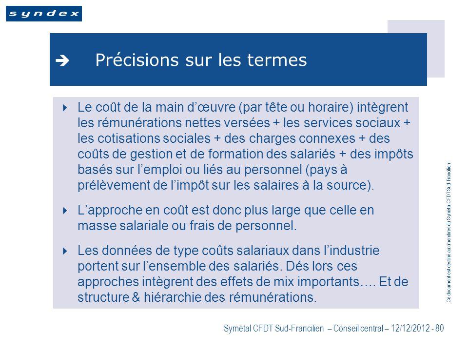 Ce document est destiné aux membres du Symétal CFDT Sud-Francilien Symétal CFDT Sud-Francilien – Conseil central – 12/12/2012 - 80 Précisions sur les