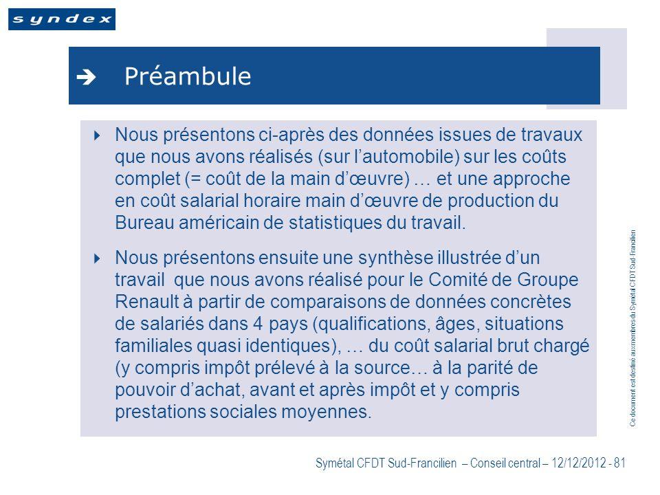 Ce document est destiné aux membres du Symétal CFDT Sud-Francilien Symétal CFDT Sud-Francilien – Conseil central – 12/12/2012 - 81 Préambule Nous prés