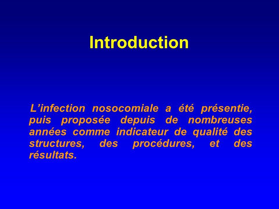 Introduction Linfection nosocomiale a été présentie, puis proposée depuis de nombreuses années comme indicateur de qualité des structures, des procédures, et des résultats.