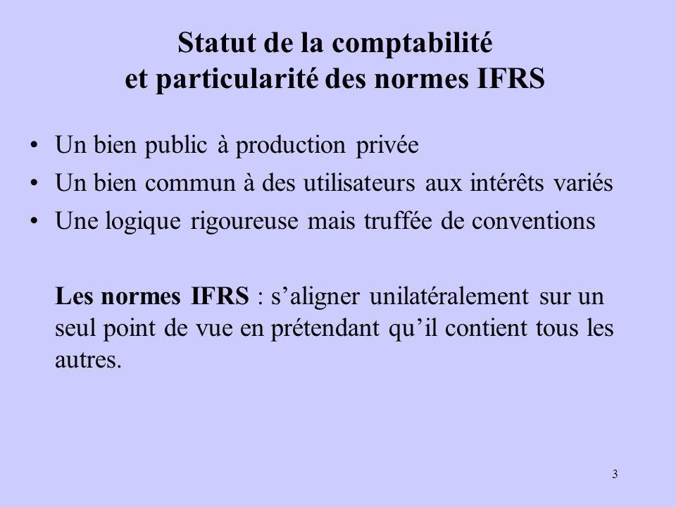 3 Statut de la comptabilité et particularité des normes IFRS Un bien public à production privée Un bien commun à des utilisateurs aux intérêts variés Une logique rigoureuse mais truffée de conventions Les normes IFRS : saligner unilatéralement sur un seul point de vue en prétendant quil contient tous les autres.