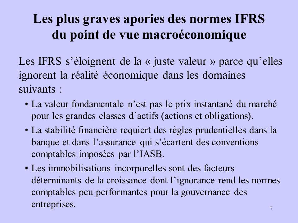 7 Les plus graves apories des normes IFRS du point de vue macroéconomique Les IFRS séloignent de la « juste valeur » parce quelles ignorent la réalité économique dans les domaines suivants : La valeur fondamentale nest pas le prix instantané du marché pour les grandes classes dactifs (actions et obligations).