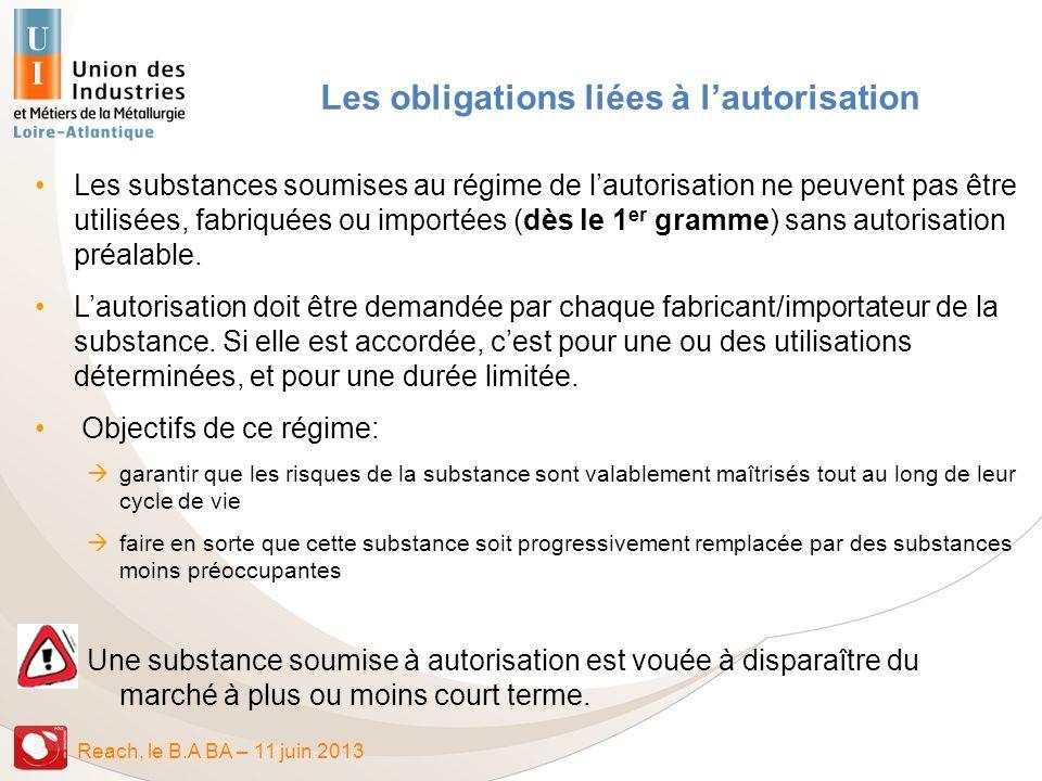 Reach, le B.A BA – 11 juin 2013 Les obligations liées à lautorisation Les substances soumises au régime de lautorisation ne peuvent pas être utilisées
