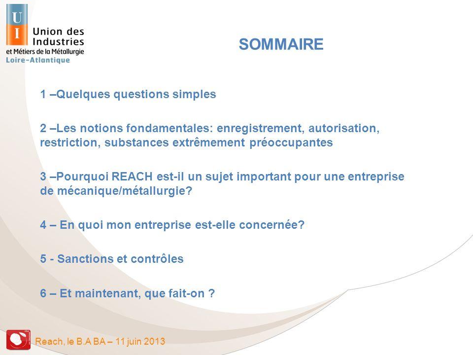 Reach, le B.A BA – 11 juin 2013 SOMMAIRE 1 –Quelques questions simples 2 –Les notions fondamentales: enregistrement, autorisation, restriction, substa