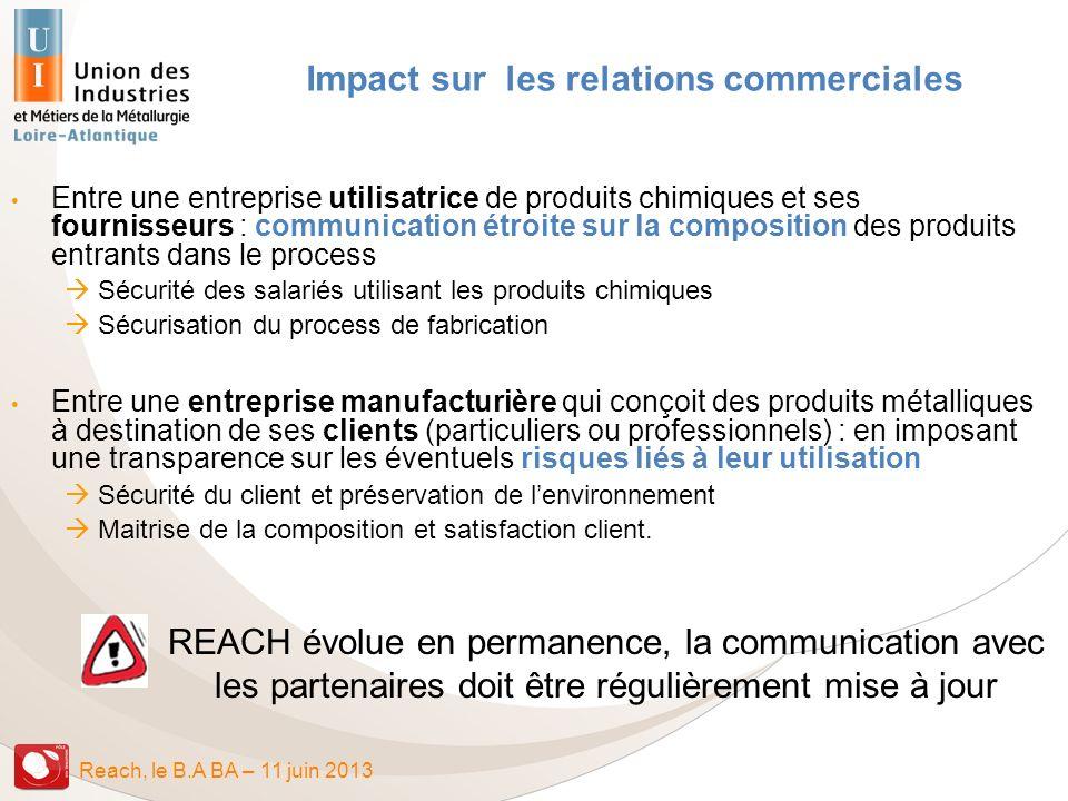 Reach, le B.A BA – 11 juin 2013 Impact sur les relations commerciales REACH évolue en permanence, la communication avec les partenaires doit être régu