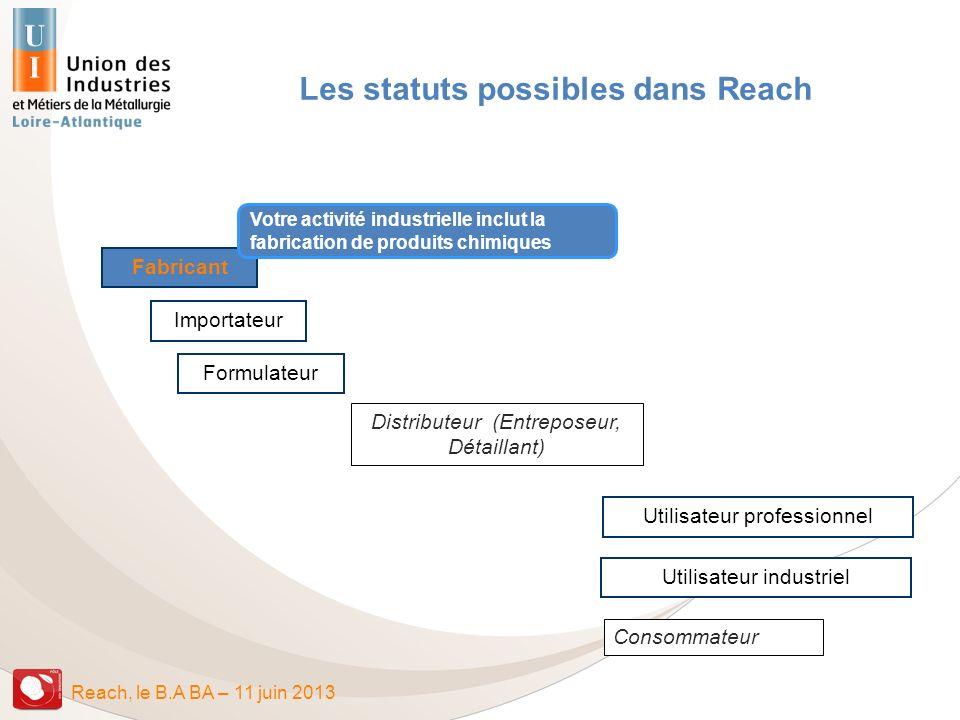 Reach, le B.A BA – 11 juin 2013 Consommateur Distributeur (Entreposeur, Détaillant) Fabricant Importateur Formulateur Utilisateur professionnel Utilis