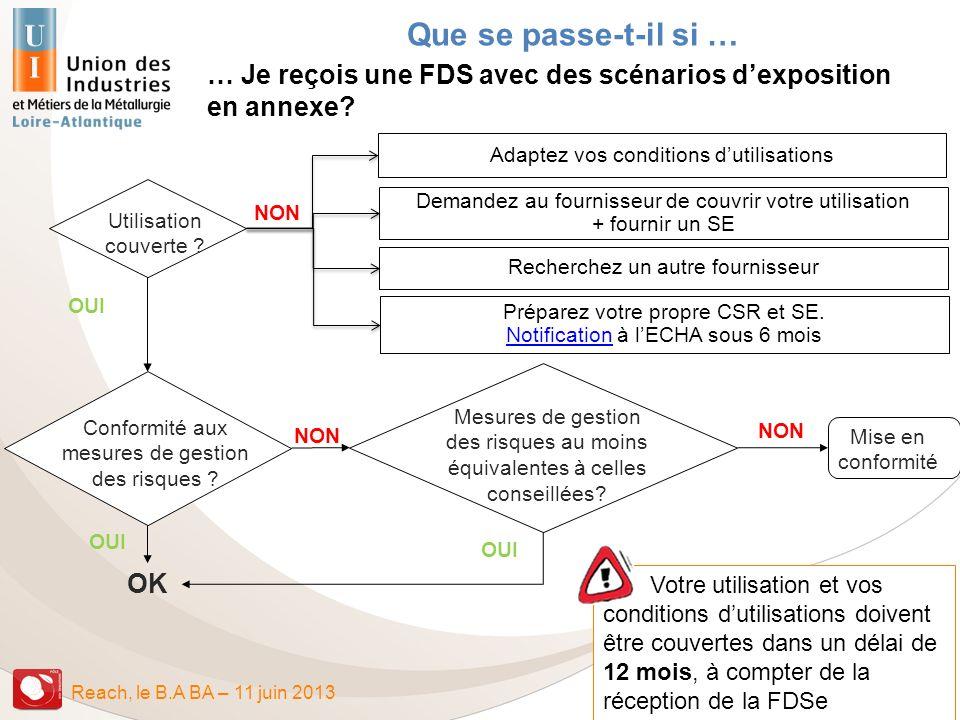 Reach, le B.A BA – 11 juin 2013 OK Utilisation couverte ? Conformité aux mesures de gestion des risques ? Mise en conformité NON OUI NON OUI Mesures d