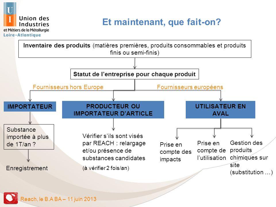 Reach, le B.A BA – 11 juin 2013 Inventaire des produits (matières premières, produits consommables et produits finis ou semi-finis) Statut de lentrepr