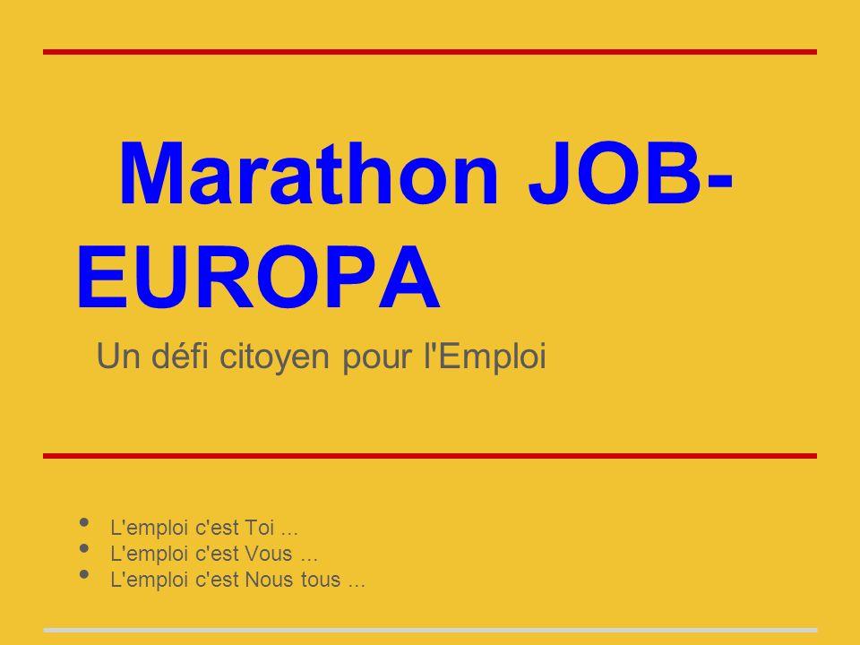 Marathon JOB- EUROPA Un défi citoyen pour l Emploi L emploi c est Toi...