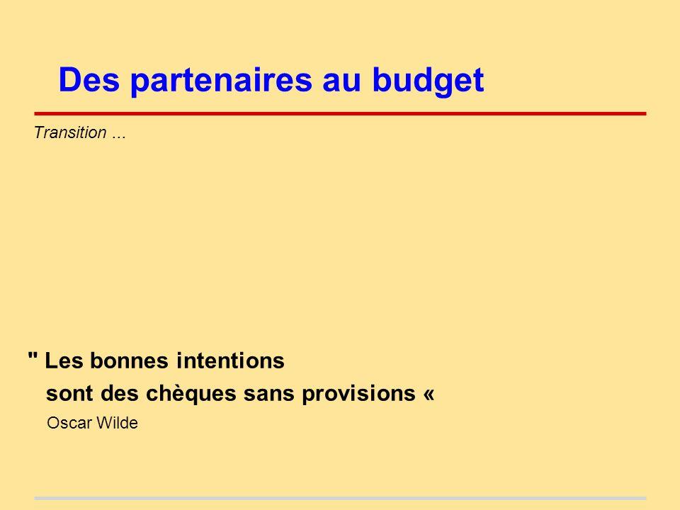 Des partenaires au budget Transition...