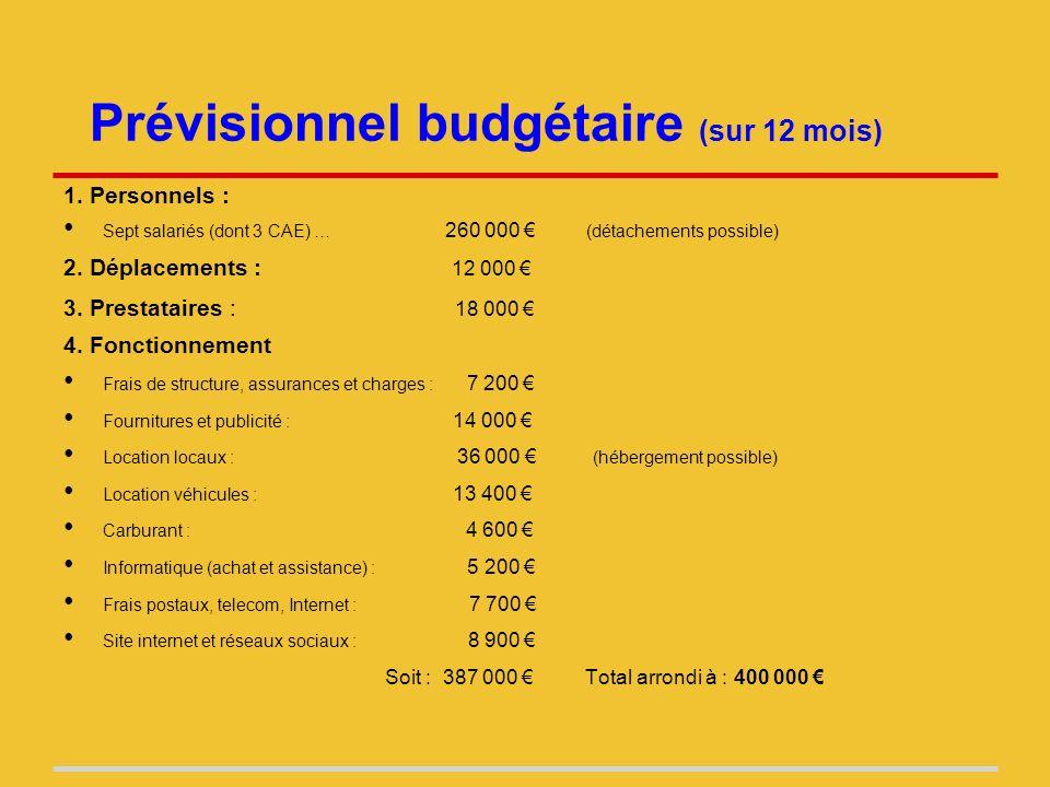 Prévisionnel budgétaire (sur 12 mois) 1.