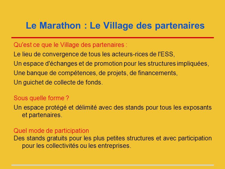Le Marathon : Le Village des partenaires Qu est ce que le Village des partenaires : Le lieu de convergence de tous les acteurs-rices de l ESS, Un espace d échanges et de promotion pour les structures impliquées, Une banque de compétences, de projets, de financements, Un guichet de collecte de fonds.