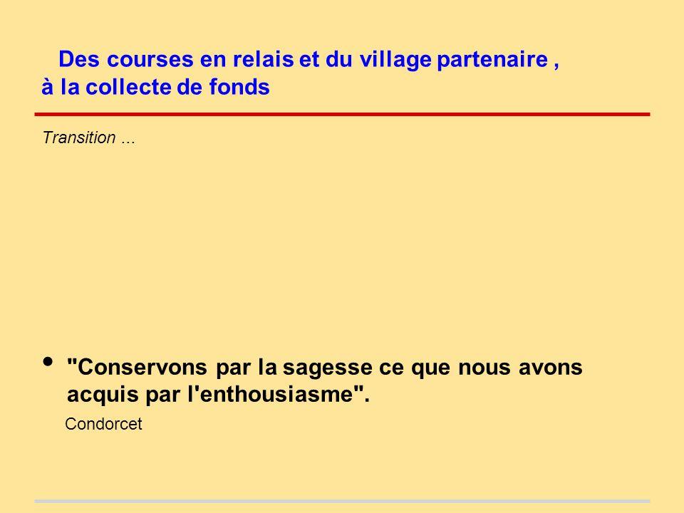 Des courses en relais et du village partenaire, à la collecte de fonds Transition...