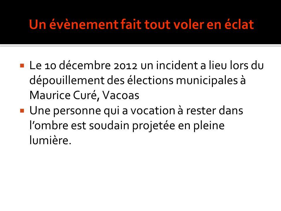 Le 10 décembre 2012 un incident a lieu lors du dépouillement des élections municipales à Maurice Curé, Vacoas Une personne qui a vocation à rester dans lombre est soudain projetée en pleine lumière.
